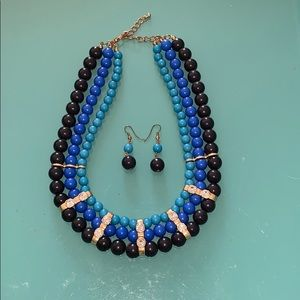 Ombré Blue Necklace and Earring Set